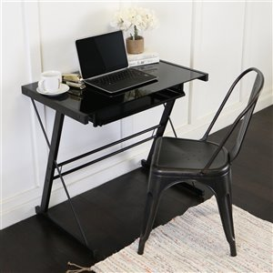 Home Office Glass Metal Computer Desk - Black