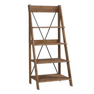 Walker Edison Solid Wood Ladder Bookshelf - 68-in - Brown