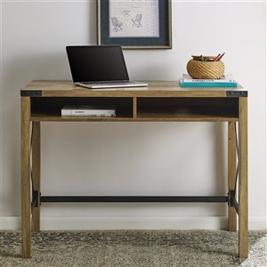 42-in Farmhouse Metal & Wood Desk - Reclaimed Barnwood