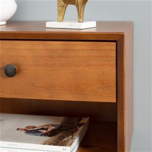 Mid-Century 1 Drawer Solid Wood Nightstand - Caramel
