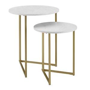 Walker Edison 2-Piece V-Leg Nesting Side Tables - White Faux Marble/Gold