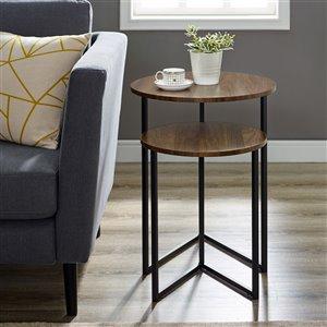 Walker Edison 2-Piece V-Leg Nesting Side Tables - Dark Walnut/Black