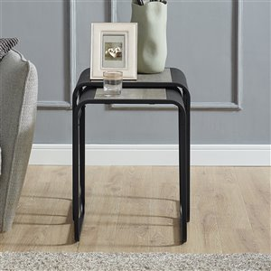 Walker Edison Metal Nesting Tables - Grey Wash / Black