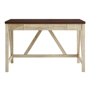 46-in Rustic Modern Farmhouse Computer Desk with Drawer - White/Brown