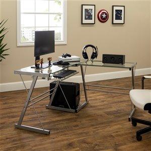 Home Office L-Shaped Corner Computer Desk - Silver
