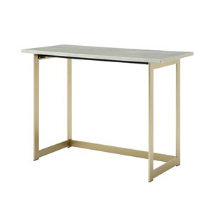 42 Modern Faux Marble Computer Desk - White Marble / Gold