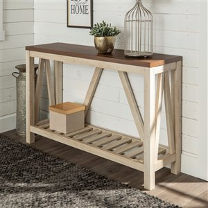 52-in A-Frame Rustic Entry Console Table - Dark Walnut Top w/White Oak Body