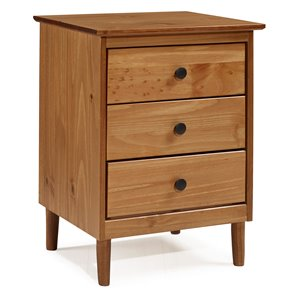 Modern 3 Drawer Nightstand - Caramel