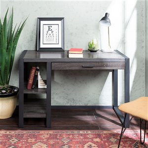 48-in Wood Computer Desk - Charcoal