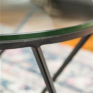 Walker Edison Geometric Glass Nesting Coffee Tables - Black