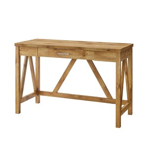 46-in Rustic Farmhouse Wood Computer Desk - Barnwood