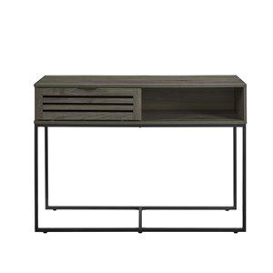 42-in Modern Slat Door Entry Table - Slate Grey