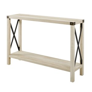 46-in Rustic Farmhouse Entryway Table - White Oak