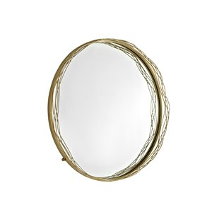 32-in Round Mirror with Wire Nest Frame - Gold