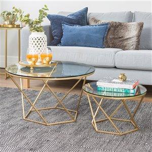Walker Edison Geometric Glass Nesting Coffee Tables - Gold