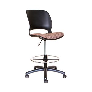 TygerClaw Adjustable Rolling Swivel Stool with Backrest - Black