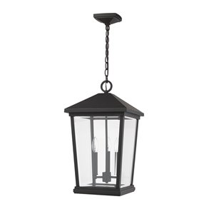 Z-Lite Beacon 3 Light Outdoor Chain Mount Ceiling Fixture - 12-in x 21.5-in - Rubbed Bronze/Clear Glass