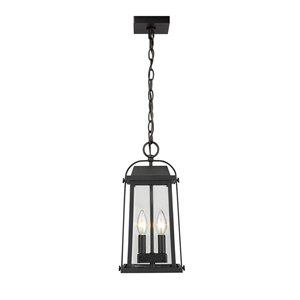 Z-Lite Millworks 2 Light Outdoor Chain Mount Ceiling Fixture - 7.75-in x 15.5-in - Black/Clear Glass