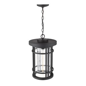 Z-Lite Jordan 1 Light Outdoor Chain Mount Ceiling Fixture - 12-in x 18.75-in - Black/Seedy Glass