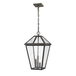 Z-Lite Talbot 3 Light Outdoor Chain Mount Ceiling Fixture - 12.25-in x 21.5-in - Rubbed Bronze/Seedy Glass