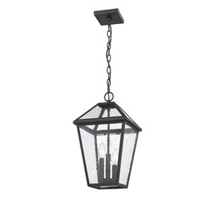 Z-Lite Talbot 3 Light Outdoor Chain Mount Ceiling Fixture - 10-in x 18-in - Rubbed Bronze/Seedy Glass