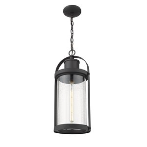 Z-Lite Roundhouse 1 Light Outdoor Chain Mount Ceiling Fixture - 9.25-in x 22.5-in - Black/Seedy Glass