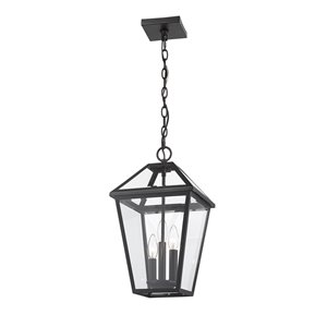 Z-Lite Talbot 3 Light Outdoor Chain Mount Ceiling Fixture - 10-in x 18-in - Black/Clear Glass