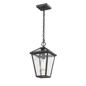 Z-Lite Talbot 1 Light Outdoor Chain Mount Ceiling Fixture - 8.25-in x 14.25-in - Rubbed Bronze/Seedy Glass