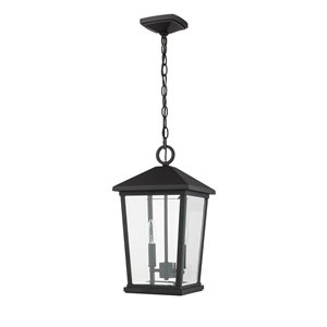 Z-Lite Beacon 2 Light Outdoor Chain Mount Ceiling Fixture - 9.5-in x 17.5-in - Black/Clear glass