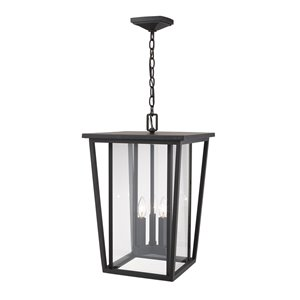 Z-Lite Seoul 3 Light Outdoor Chain Mount Ceiling Fixture - 14-in x 21.25-in - Rubbed Bronze/Clear Glass