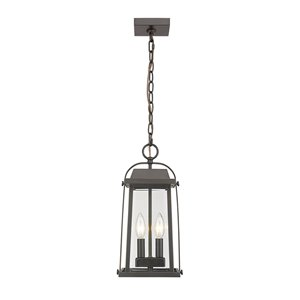 Z-Lite Millworks 2 Light Outdoor Chain Mount Ceiling Fixture - 7.75-in x 15.5-in - Rubbed Bronze/Seedy Glass