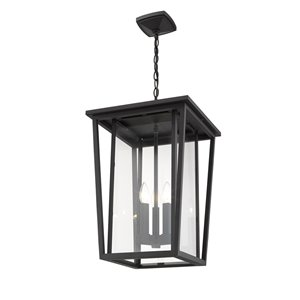 Z-Lite Seoul 3 Light Outdoor Chain Mount Ceiling Fixture - 14-in x 21.25-in - Black/Clear Glass