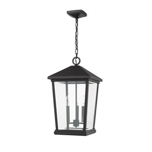 Z-Lite Beacon 3 Light Outdoor Chain Mount Ceiling Fixture - 12-in x 21.5-in - Black/Clear Glass