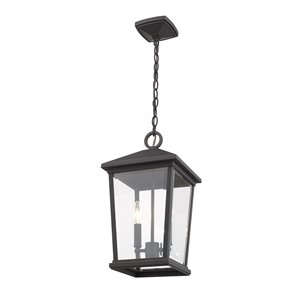 Z-Lite Beacon 2 Light Outdoor Chain Mount Ceiling Fixture - 9.5-in x 17.5-in - Rubbed Bronze/Clear glass