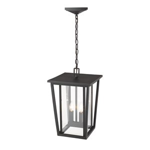 Z-Lite Seoul 2 Light Outdoor Chain Mount Ceiling Fixture - 11.25-in x 17.5-in - Rubbed Bronze/Clear Glass