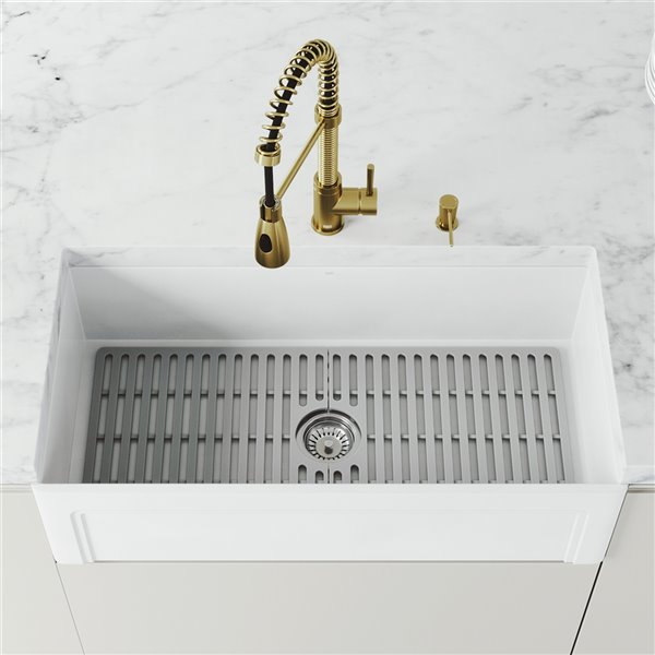 Vigo Farmhouse Kitchen Sink In Matte White With Drain 36 In Lowe S Canada