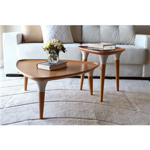 Manhattan Comfort HomeDock Coffee and End Table - 2-Piece - Cinnamon/Off-White