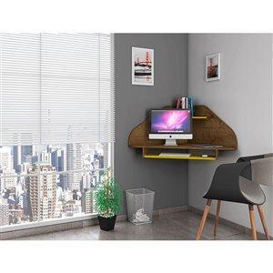 Manhattan Comfort Bradley Floating Corner Desk - 43.98-in - Rustic Brown/Yellow