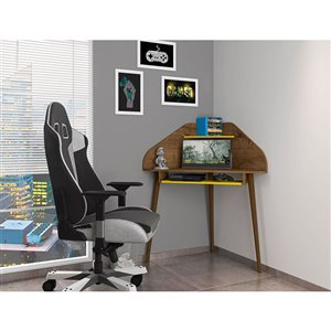 Manhattan Comfort Bradley Cubicle Section Desk - 62.62-in - Rustic Brown/Yellow - 2-Piece