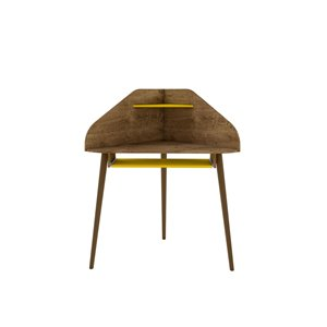 Manhattan Comfort Bradley Corner Desk - 43.98-in - Rustic Brown/Yellow