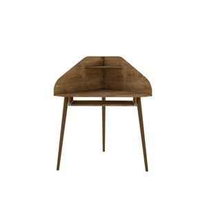 Manhattan Comfort Bradley Round Cubicle Desk - 62.62-in - Rustic Brown - 4-Piece
