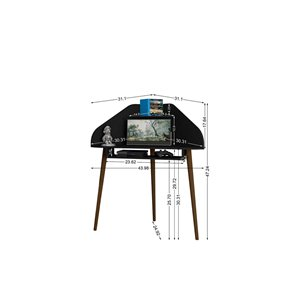 Manhattan Comfort Bradley Floating Cubicle Desk - 62.62-in - Black - 2-Piece