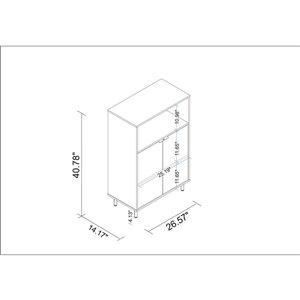 Manhattan Comfort Mosholu Accent Cabinet - 26.57-in x 40.78-in - White/Nut Brown