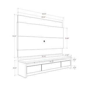 Manhattan Comfort Lincoln TV Stand - 85.43-in x 71.73-in - Off-White/Cinnamon Brown