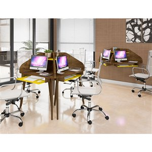 Manhattan Comfort Bradley Floating Cubicle Desk - 62.62-in - Rustic Brown/Yellow - 2-Piece
