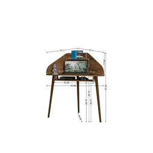 Manhattan Comfort Bradley Floating Corner Desk - 43.98-in - Rustic Brown