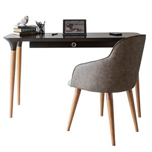 Manhattan Comfort HomeDock and Martha Office Desk with Chair - 53.14-in - Black and Grey - 2-Piece