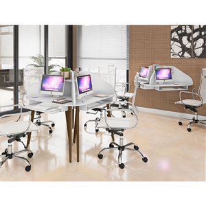 Manhattan Comfort Bradley Floating Cubicle Desk - 62.62-in - White - 2-Piece