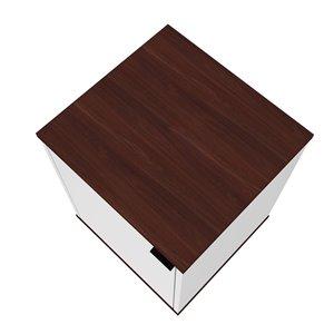 Manhattan Comfort Mosholu Nightstand - 14.96-in - White/Nut Brown