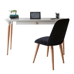 Manhattan Comfort HomeDock and Selina Office Desk with Chair - 53.14-in - Off-White and Black - 2-Piece